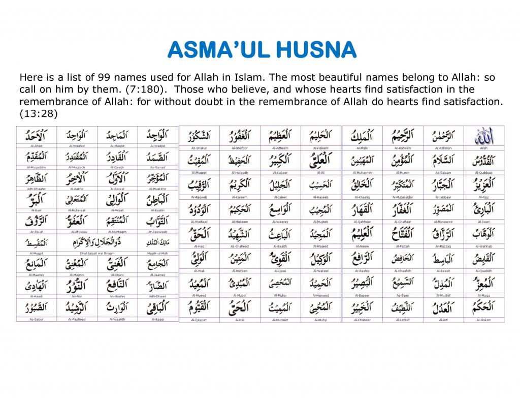 asmaul husna dalam agama islam asmaul husna bahasa arab اسماء ...
