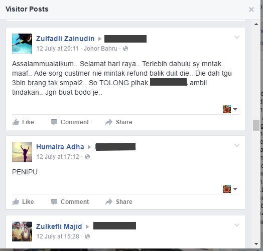 Sedikit dari sebahagian besar rungutan klien di FB salah satu butik terkemuka di Malaysia